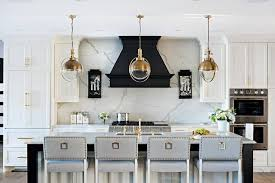 White Island Light Light Gray Center Island With Brass Barstools Contemporary Kitchen