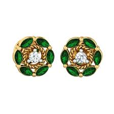 diamond ear studs diamond studs green bloom floral diamond ear stud
