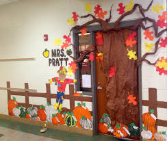 fall pumpkin patch classroom door decoration features different