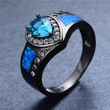 light blue rings images Ocean blue fire opal stone ring heart light blue stone women men jpg