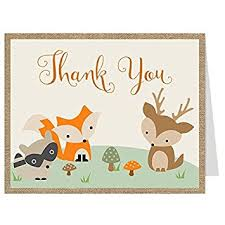 woodland baby shower thank you cards burlap forest