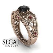 Gold Flowers Designer Engagement Ring 14k Rose Gold 2 Carat Round Cut Black