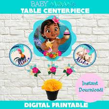 baby moana birthday party centerpiece printable set instant