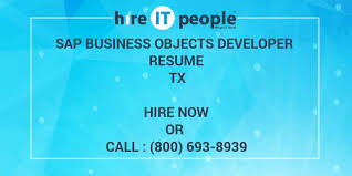 Sap Bo Resume Sample by Sap Business Objects Developer Resume Tx Hire It People We Get