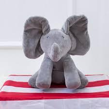 peek a boo play elephant singing stuffed animals ears flap