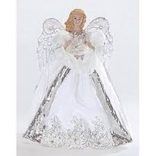 christmas tree angel white and silver porcelain angel with bows christmas tree topper