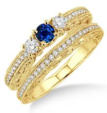 yellow gold bridal sets 2 carat sapphire and diamond antique milgrain bridal set on 10k