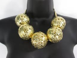gold metal large ornament balls pendant necklace chains new