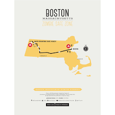 Mass Pike Exits Map Zombie Safe Zone Map Boston Steel Blue Design Different