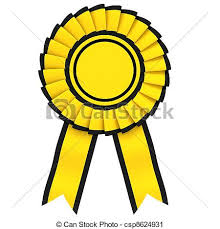 black and yellow ribbon yellow ribbon award with a black border isolated on white