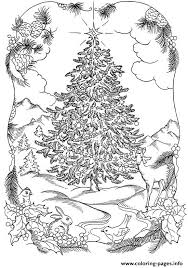 adults christmas tree nature coloring pages printable