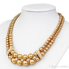fancy alloy layer pearls necklace neckchains