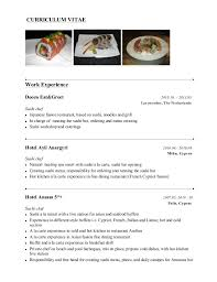 Chef Sample Resume by Sushi Chef Resume Example 7 Ilivearticles Info