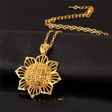 gold big pendant necklace images Kpop sun flower pendant necklace new blommy charms yellow gold jpg