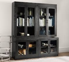 Bookcase With Doors Black Glass Door Bookcase Pottery Barn