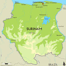 Geographical Map Of South America by Large Physical Map Of Suriname With Major Cities Suriname