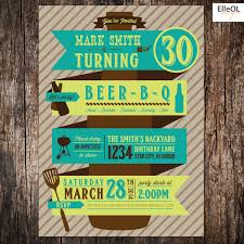beer bbq 21st 30th 40th 50th birthday party invitation by elleol