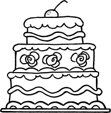 wedding cake outline worksheet of three wedding cake for kids coloring point