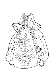 gown coloring page for girls printable free