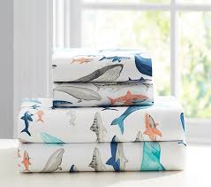Whale Bathroom Accessories by Asher Whale Sheet Set Pottery Barn Kids