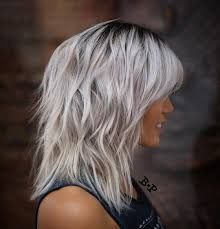 medium length choppy layered hairstyles shoulder length wavy messy gray ice blonde hair with layers