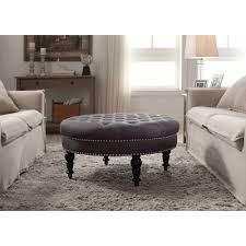 Tufted Round Ottoman Coffee Table by Linon Isabelle Round Tufted Ottoman Multiple Colors Walmart Com