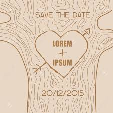wedding invitation card wooden carved heart theme in vector