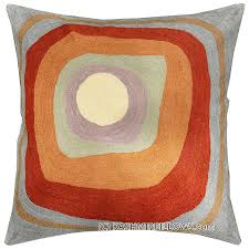 Square Sofa Pillows by Kandinsky Ruby Square Iii Cushion Cover Handembroidered Kashmir