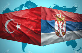 Flag Of Serbia Waving Serbian And Turkish Flags Of The Political Map Of The World