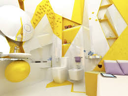 beautiful yellow bathroom theme ideas with white color accent
