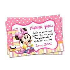 minnie mouse thank you cards printable pink minnie mouse thank you card party supply on