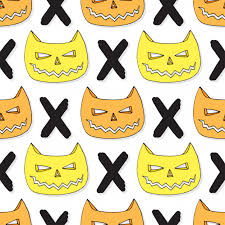 skull wrapping paper cats skull seamless pattern vector background