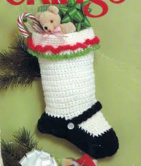 crochet christmas stocking mary jane vintage crocheting pdf