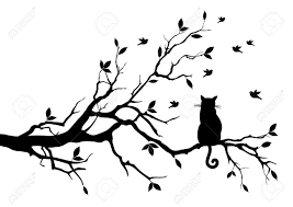 cat sitting on a tree birds royalty free cliparts