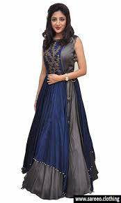 blue color fashionable latest gown style floor length dress