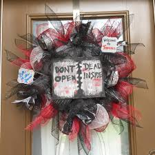 walking dead inspired deco mesh wreath welcome home wreath by