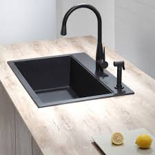kitchen sinks remodelista black faucet collar handle kohler
