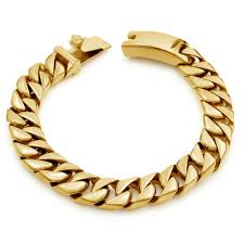 cuban chain bracelet images Chunky flat stainless steel bracelet mens gold cuban link chain jpg
