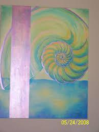 ruthie paints sea shells and a sea shore for a cuban restaurant