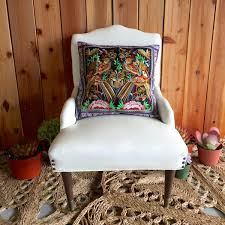 bird embroidered hmong pillow case modern day hippie