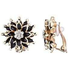 clip on earrings s s goldtone and black cz flower clip on earrings