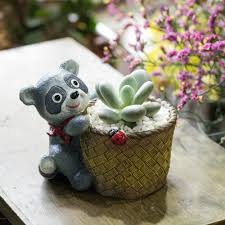 Cute Succulent Pots Office Desktop Kawaii Cute Design Bear Artificial Succulent Plants