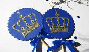 Blue And Gold Baby Shower Decorations by 12 Royal King Crown Cupcake Toppers Royal Blue Prince Baby Shower