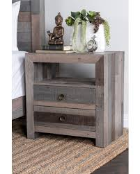 amazing deal oscar grey reclaimed wood 2 drawer nightstand by