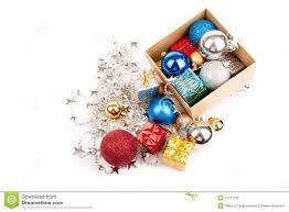 top view of christmas tree bauble ornament in a box stock photo