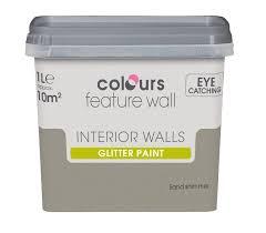 B Q Paint Colour Chart Bedrooms Colours Feature Wall Sand Shimmer Emulsion Paint 1l Walls