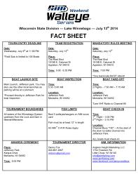 Event Fact Sheet Template Lake Winnebago Fact Sheet Aim Pro Walleye Series