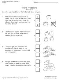 subtraction word problems subtraction word problems worksheets 1b 1c