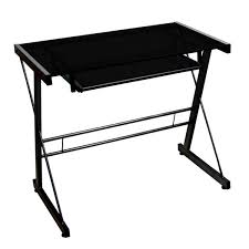 Metal And Glass Computer Desk Black Metal Glass Computer Desk Free Shipping Today Overstock