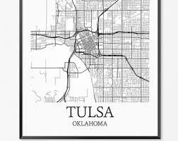 map of tulsa tulsa etsy